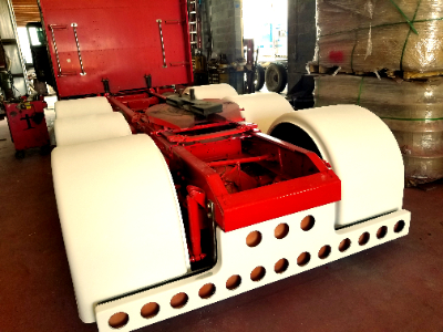 Frame extension on the red Peterbilt heavy hauler show truck for Mr Anthony Mclean
