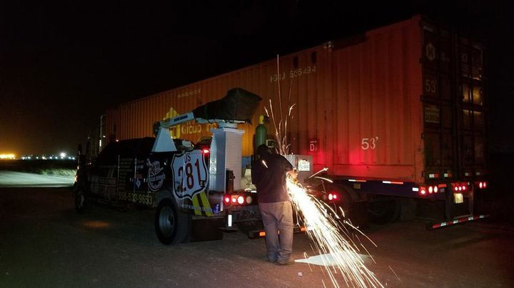 Mario Pena from US 281 Truck And Trailer Services LLC fabricating a brake chamber bracket in Edinburg, Texas.