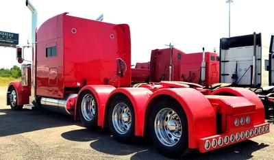 Image of Red Peterbilt Heavy Hauler after frame extension
