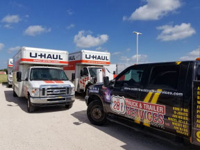 Mario Pena from US 281 Truck And Trailer Services LLC Edinburg performing road service on a U-Hall truck