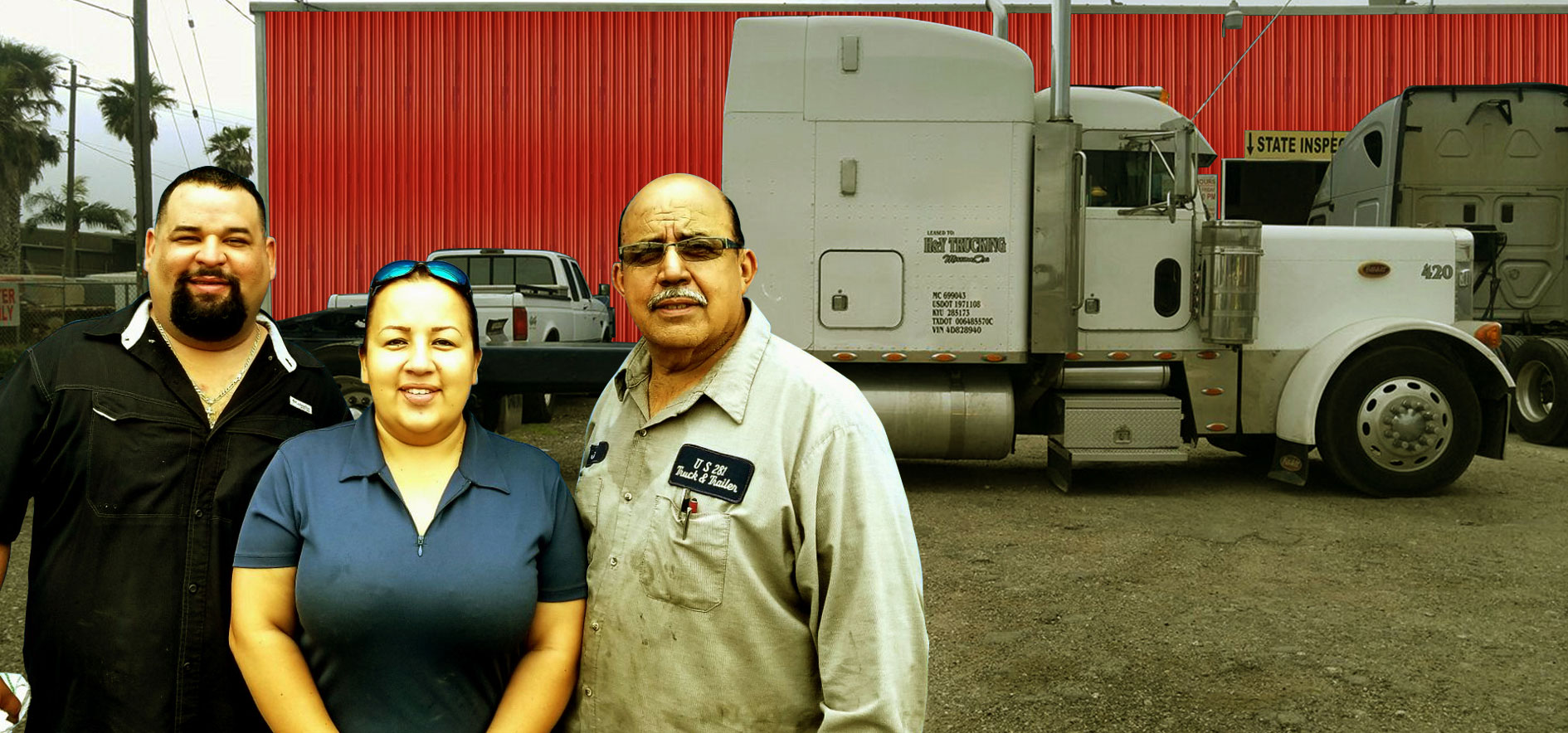 The US 281 Truck And Trailer Services LLc Team - Mario Pena,Gabriela Lopez and Jorge Lopez.