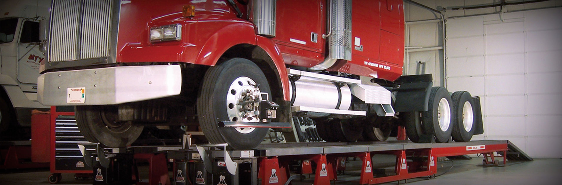 Truck and trailer alignments at the US 281 Truck And Trailer Services LLC workshop in Edinburg.