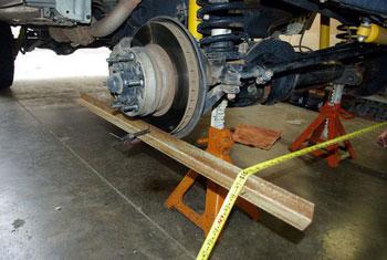 Wheel alignment at US 281 workshop.