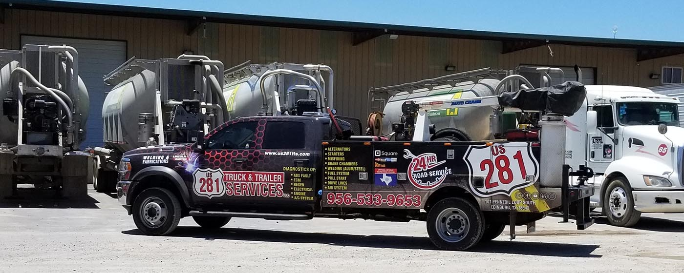 The US 281 Truck And Trailer Services LLC 24 X 7 emergency Road Service Truck In Edinburg.